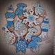 """Кулинарные сувениры ручной работы. Ярмарка Мастеров - ручная работа. Купить """"Новогодняя ночь"""" набор пряников - козуль. Handmade. Синий"""