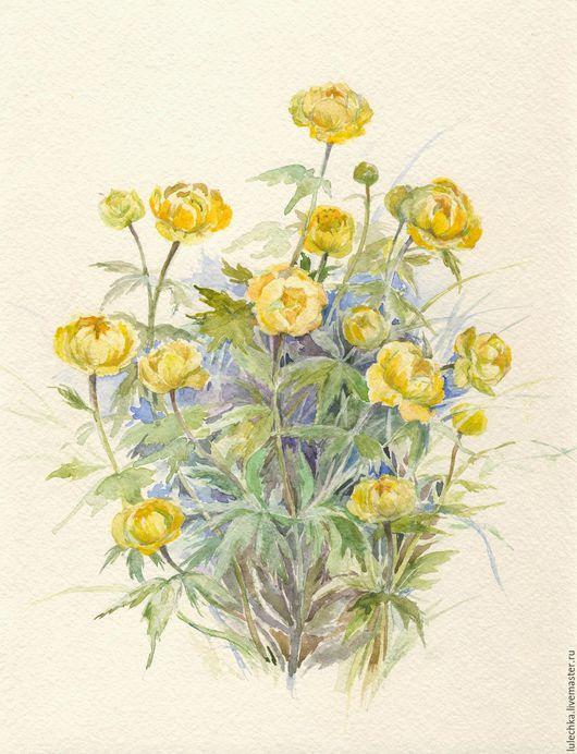 Картины цветов ручной работы. Ярмарка Мастеров - ручная работа. Купить Купальница. Handmade. Желтый, купальницы, весенние цветы