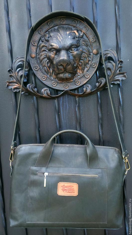 Мужские сумки ручной работы. Ярмарка Мастеров - ручная работа. Купить Юкка2. Handmade. Тёмно-зелёный, сумка из натуральной кожи