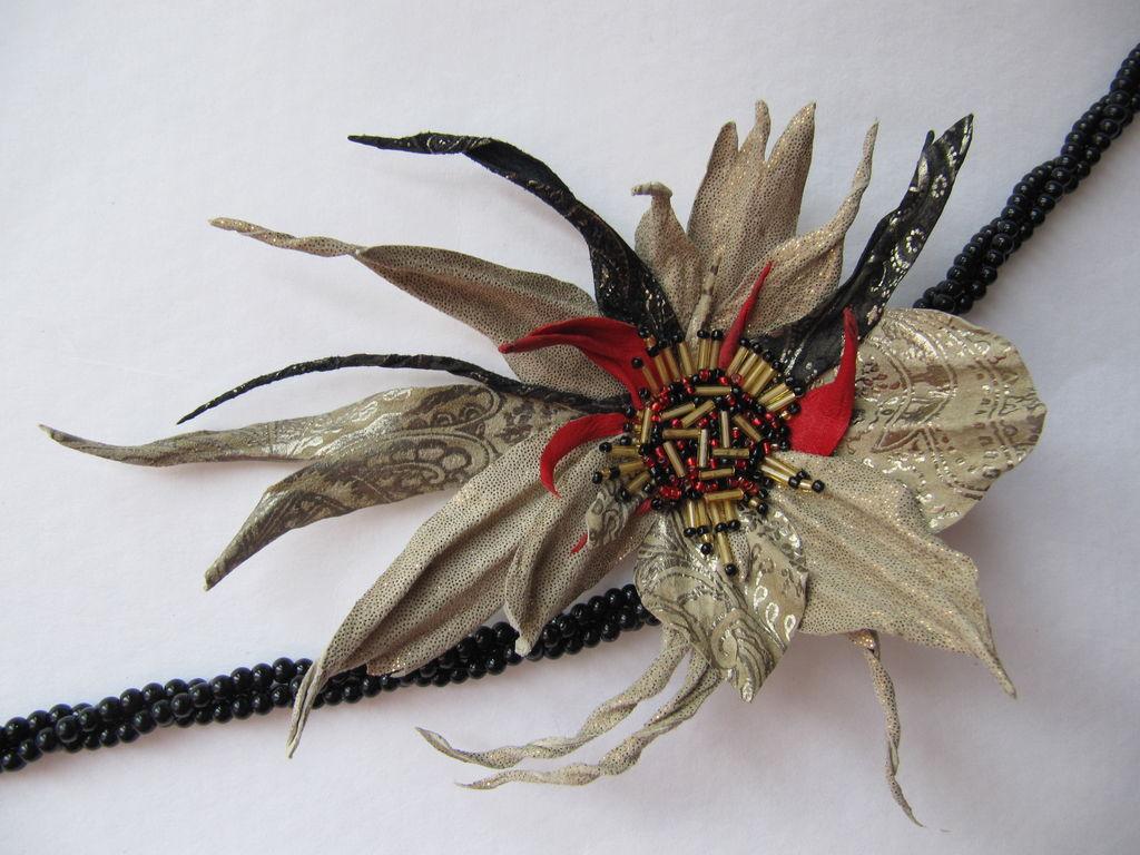 Brooch flower leather. Brooch for coat, blazer, jacket, dress, cardigan, sweater, bag, hat, belt, scarf, shawl, stole. Gift, woman, man.