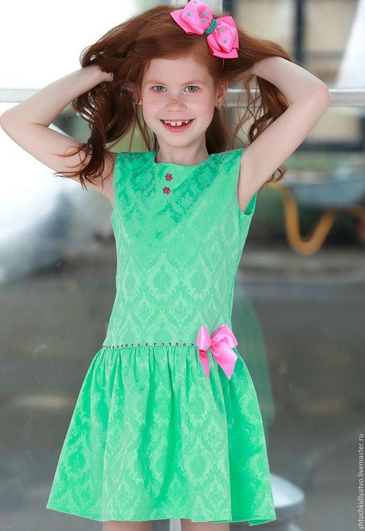 Одежда для девочек, ручной работы. Ярмарка Мастеров - ручная работа. Купить Мятное платье с воланом. Handmade. Комбинированный, одежда