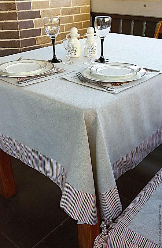 Текстиль, ковры ручной работы. Ярмарка Мастеров - ручная работа. Купить Льняное столовое белье скатерть и ланчматы Прованс. Handmade.