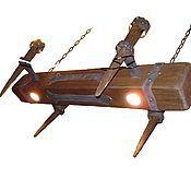 """Для дома и интерьера ручной работы. Ярмарка Мастеров - ручная работа люстра """"Старая балка"""" с факелами маленькая. Handmade."""