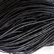 Материалы для творчества ручной работы. Ярмарка Мастеров - ручная работа 10м Шнур вощеный черный 1мм. Handmade.