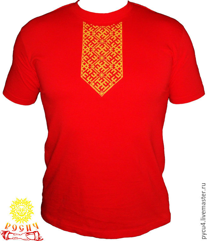 T-shirt of the Slavic amulet of Ratibor. 100% cotton. Cross-stitch the collar. When ordering please specify t-shirt size, optional - t-shirt color and embroidery.
