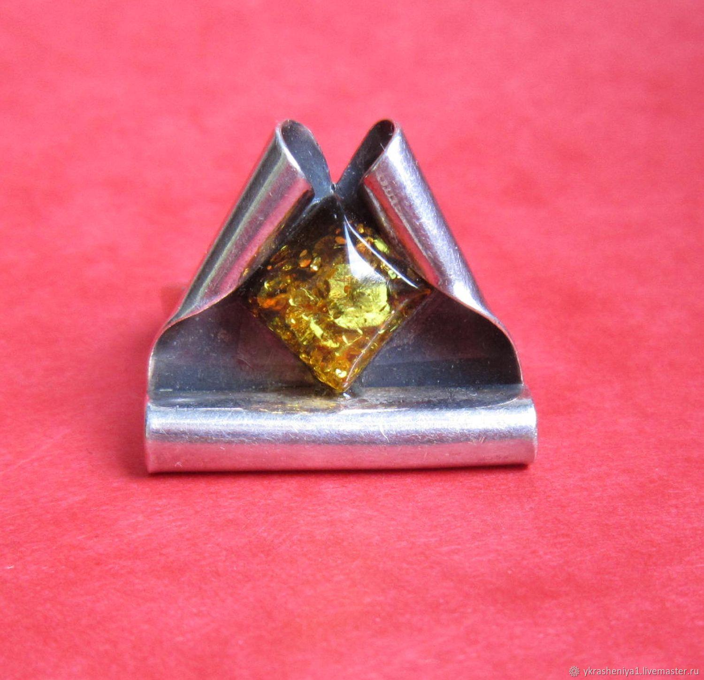 Винтаж: Кольцо перстень серебро 925 янтарь 1, Кольца винтажные, Москва,  Фото №1