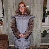 Одежда ручной работы. Ярмарка Мастеров - ручная работа Пуховик с енотом. Handmade.