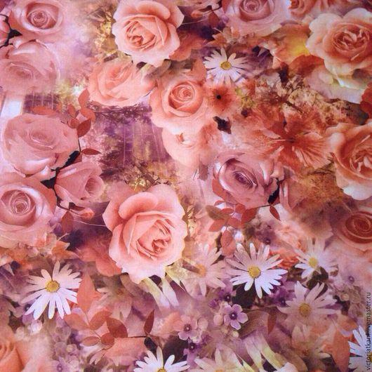 """Шитье ручной работы. Ярмарка Мастеров - ручная работа. Купить Ткань неопрен """"Чудесные розы""""бежево-персикового цвета. Handmade. Неопрен"""