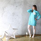 Одежда ручной работы. Ярмарка Мастеров - ручная работа Пуловер -Платье Бирюза. Handmade.