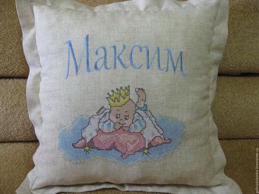 Текстиль, ковры ручной работы. Ярмарка Мастеров - ручная работа. Купить декоративная подушка с именем или метрикой. Handmade. Бежевый
