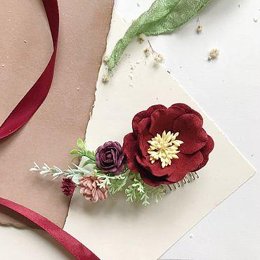Украшения ручной работы. Ярмарка Мастеров - ручная работа Гребень для прически с бордовыми цветами, гребень для невесты. Handmade.