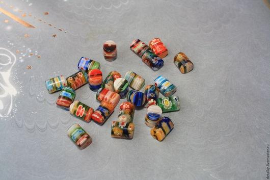 Для украшений ручной работы. Ярмарка Мастеров - ручная работа. Купить Бусина стеклянная цилиндр 10х8 мм. Handmade. Комбинированный