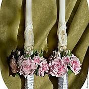 """Свадебный салон ручной работы. Ярмарка Мастеров - ручная работа """"Венчальные свечи"""" - на заказ для Ольги и Максима / реплика для Марии. Handmade."""