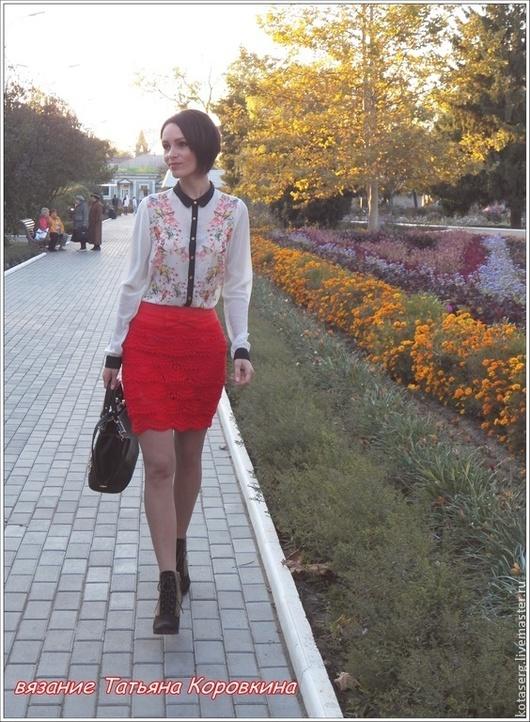 Юбки ручной работы. Ярмарка Мастеров - ручная работа. Купить Вязаная юбка. Handmade. Ярко-красный, женская мода, штапель