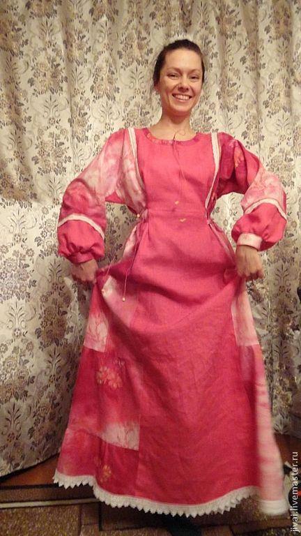Платья ручной работы. Ярмарка Мастеров - ручная работа. Купить платье МИЛОРАДА. Handmade. Фуксия, народный стиль, бусины деревянные