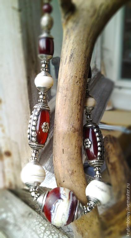 """Колье, бусы ручной работы. Ярмарка Мастеров - ручная работа. Купить Ожерелье """"Такамат"""". Handmade. Ожерелье, коричневый, серебро"""