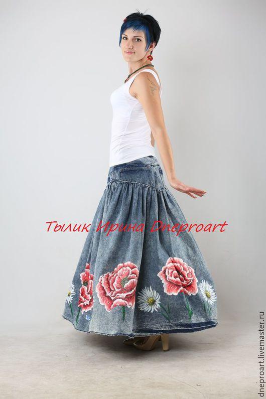 """Юбки ручной работы. Ярмарка Мастеров - ручная работа. Купить Роскошная джинсовая юбка """"Маки и ромашки"""". Handmade. Синий, коттон"""
