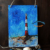 Картины и панно handmade. Livemaster - original item Oil painting art landscape with the sea in the MORNING LIGHTHOUSE. Handmade.
