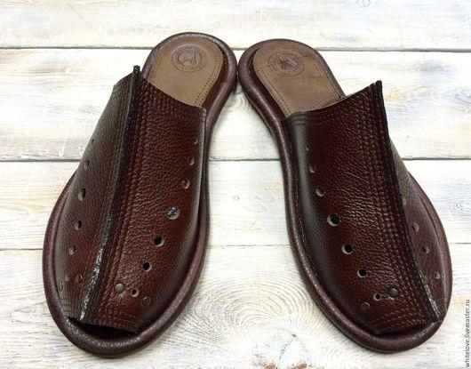 """Обувь ручной работы. Ярмарка Мастеров - ручная работа. Купить Кожаные шлепанцы на подошве """" Барс-2"""". Handmade. Коричневый"""