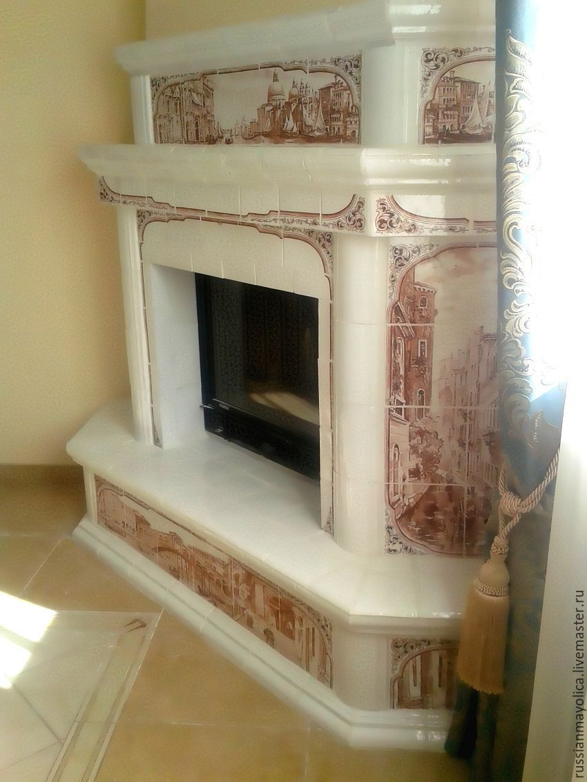 Tiled fireplace Venice