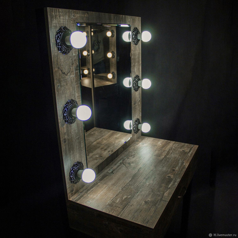 Туалетный столик + зеркало с винтажными светильниками, Столы, Санкт-Петербург,  Фото №1