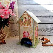 Для дома и интерьера ручной работы. Ярмарка Мастеров - ручная работа Чайный домик «С ангелом» - декупаж для дома чайная шкатулка винтаж. Handmade.