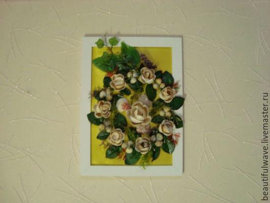Картины цветов ручной работы. Ярмарка Мастеров - ручная работа. Купить картина из ракушек Венок из роз. Handmade. Картина