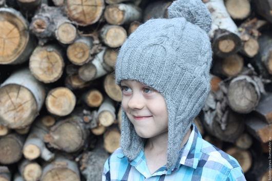 Шапки ручной работы. Ярмарка Мастеров - ручная работа. Купить Детская вязаная шапка шапочка серая с помпоном. Handmade. шерсть
