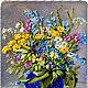 """Картины цветов ручной работы. Ярмарка Мастеров - ручная работа. Купить Картина  вышитая лентами """"ЦВЕТЫ В СИНЕЙ ВАЗЕ"""". Handmade."""