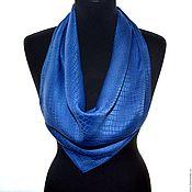 Аксессуары handmade. Livemaster - original item Hand painted scarf blue color crocodile wrap shawl  natural silk Size. Handmade.