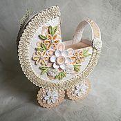 Открытки ручной работы. Ярмарка Мастеров - ручная работа Открытка-коляска для поздравления с рождением малыша. Handmade.