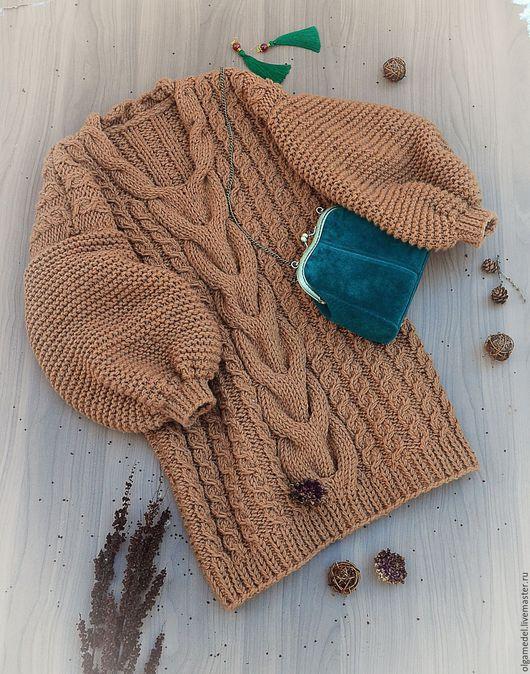 Кофты и свитера ручной работы. Ярмарка Мастеров - ручная работа. Купить Свитер-платье с V-образным вырезом. Handmade. Коричневый