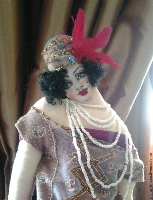 `Чарльстон` Арт-деко. Интерьерная текстильная кукла купить в подарок