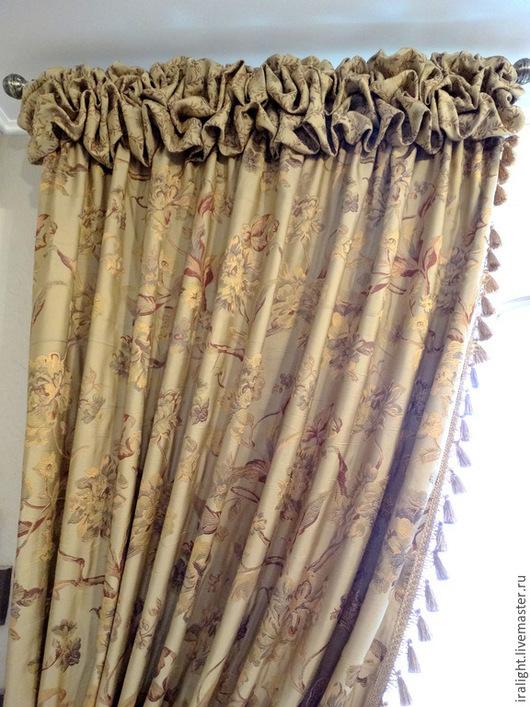 Текстиль, ковры ручной работы. Ярмарка Мастеров - ручная работа. Купить Шторы с буфом. Handmade. Бежевый, кисти, шторы, кисти