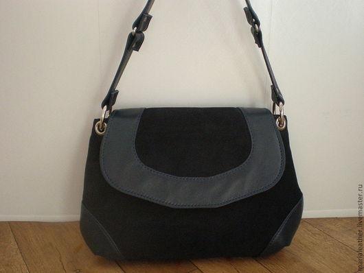 Женские сумки ручной работы. Ярмарка Мастеров - ручная работа. Купить Синяя с клапаном. Handmade. Тёмно-синий, кожа