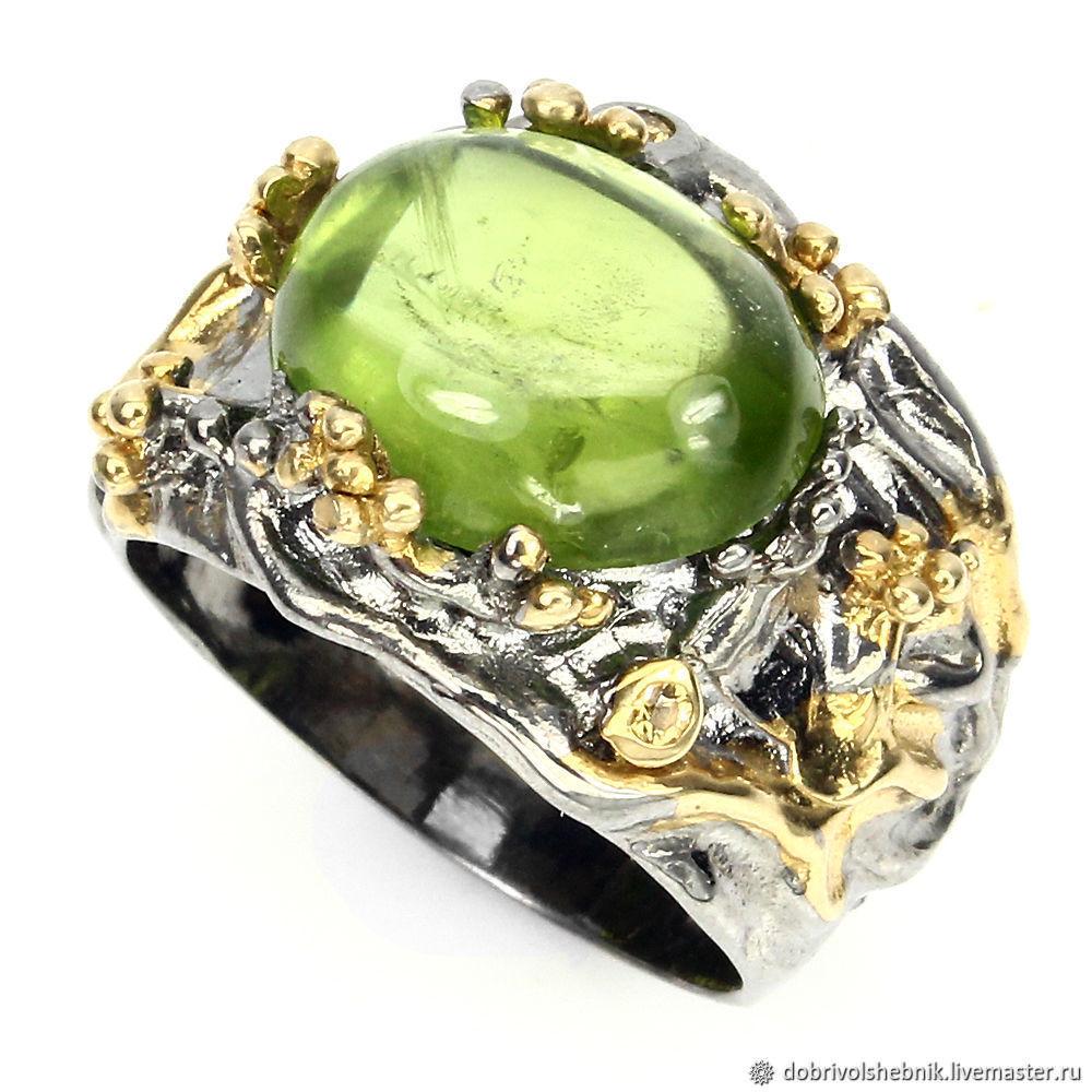 Ring 'Olivia' with natural chrysolite (peridot), Rings, Novaya Usman,  Фото №1