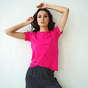 Одежда handmade. Livemaster - original item Women`s Cotton Fuchsia T-shirt, loose pink T-shirt. Handmade.