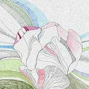 """Картины и панно ручной работы. Ярмарка Мастеров - ручная работа Рисунок """"Розовый тюльпан"""". Handmade."""