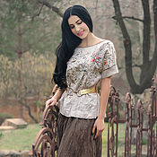 Одежда handmade. Livemaster - original item Linen suit with embroidery