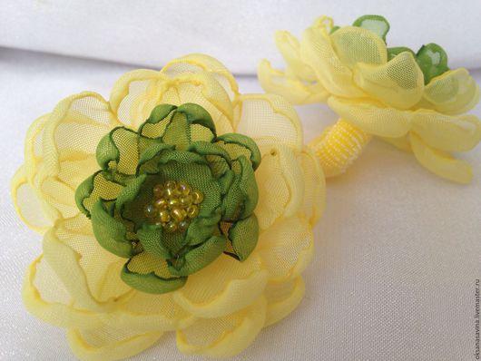 """Заколки ручной работы. Ярмарка Мастеров - ручная работа. Купить Резинка - """"Роза"""". Handmade. Бирюзовый, резинка с цветком, цветы"""