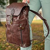 Сумки и аксессуары handmade. Livemaster - original item Backpack leather female brown Milk chocolate Mod R13p-722. Handmade.