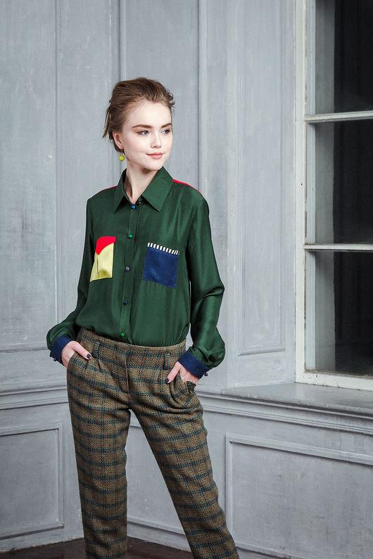 Блузки ручной работы. Ярмарка Мастеров - ручная работа. Купить Шелковая блузка хаки. Handmade. Хаки, блуза, разноцветный