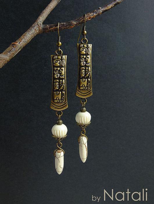 """Серьги ручной работы. Ярмарка Мастеров - ручная работа. Купить Серьги """"Palenque"""" - резная кость, говлит. Handmade. Белый"""