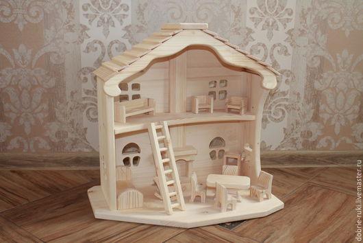 Кукольный дом ручной работы. Ярмарка Мастеров - ручная работа. Купить Двухэтажный домик с камином. Handmade. Бежевый, вальдорфская игрушка