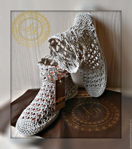 Обувь ручной работы. Ярмарка Мастеров - ручная работа. Купить Полусапожки...в составе лён...цвет-варёный... Handmade. Серый