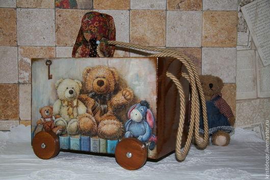 """Детская ручной работы. Ярмарка Мастеров - ручная работа. Купить Тележка для игрушек """"Мишки Тедди"""". Handmade. Подарок ребенку"""