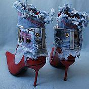 """Обувь ручной работы. Ярмарка Мастеров - ручная работа Ботинки """"Поцелуй"""" джинс+кожа. Handmade."""