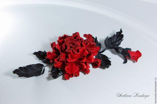 Броши ручной работы. Ярмарка Мастеров - ручная работа. Купить Украшение из кожи Красная роза. Брошь из кожи Красное и черное. Handmade.