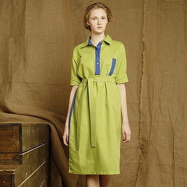 Одежда ручной работы. Ярмарка Мастеров - ручная работа Платье рубашка из льна с хлопком летнее комби салатовое и синее. Handmade.