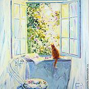 Картины и панно handmade. Livemaster - original item Oil painting on canvas. Throwing open the window in spring. Handmade.